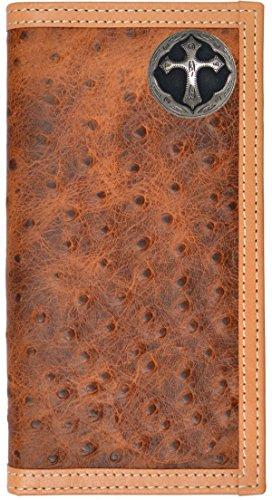 Custom Ornate Cross Long Ostrich Print Leather Wallet Brown