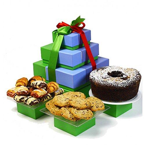 Kosherline Premium Tower Kosher, Chocolate Cake, Rogelach & Cookies Gift Tower