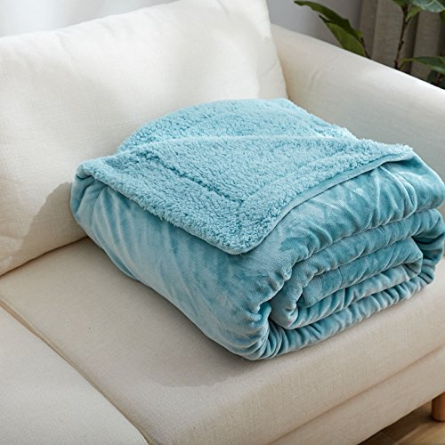 Znzbzt lambs fleece blanket flannel double thick coral fleece blankets twin size bed twin baby infant two winter ,100x120cm 1.2 pounds baby blanket, mint green by Znzbzt