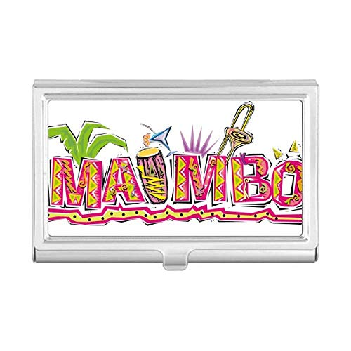 Mexico Culture Elment Pink Mambo Slogan Business Card Holder Case Wallet