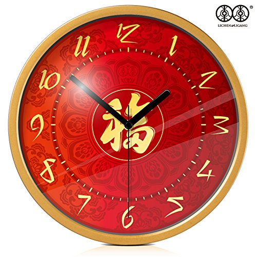 TNKML Large Indoor Decorative Wall Clock Art Village Silent Quartz Clock Creative Classic Living Room Bedroom Study Clock, 8