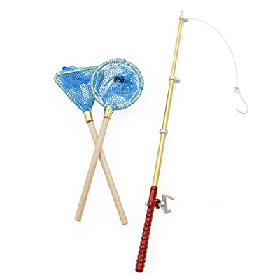 Odoria 1:12 Miniature Fish Pole and 2Pcs Fishing Nets Dollhouse Garden Accessories: Toys & Games