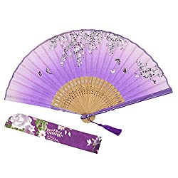 """OMyTea® """"Sakura"""" 8.27""""(21cm) Folding Hand Held Fan - With a Fabric Sleeve for Protection for Gifts - Chinese / Japanese Vintage Retro Style by OMyTea"""