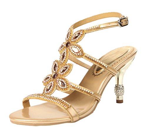Women's Sandals Rhinestones Flower Heels Shoes Stiletto Gold Design Honeystore vdOYxqv