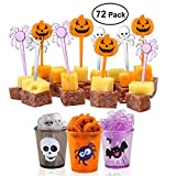 Toys : PBPBOX 72 Pack Halloween Food Picks 6 Cups Cupcake Toppers with Glitter Spider Pumpkin Skull Design for Halloween Party Supplies Halloween Party Decorations