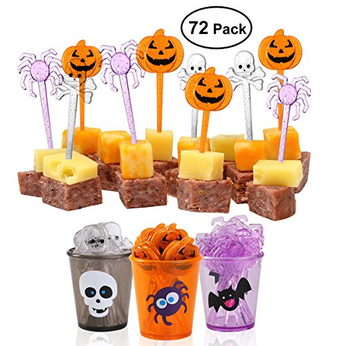 [PBPBOX 72 Pack Halloween Food Picks 6 Cups Cupcake Toppers with Glitter Spider Pumpkin Skull Design for Halloween Party Supplies Halloween Party Decorations] (Cute Halloween Appetizers)