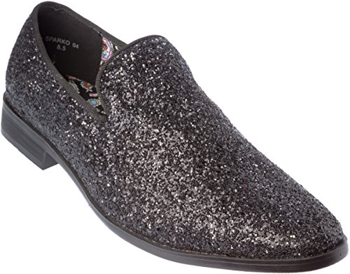Alberto Fellini Mens Loafer-Fashion Slip-On Sparkling-Glitter Black Dress-Shoes Size 13 by Alberto Fellini