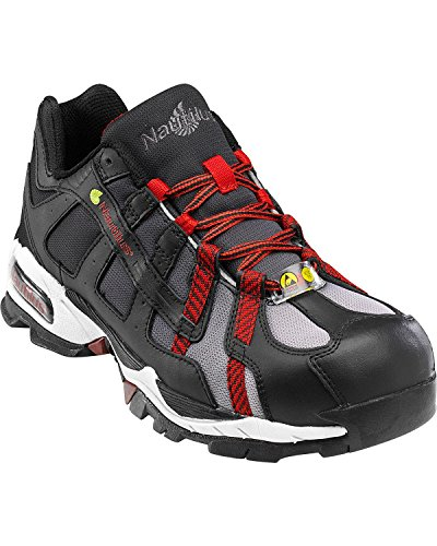 Nautilus 1317 ESD No Exposed Metal Safety Toe Athletic Shoe,Black/Silver/Red,11 W