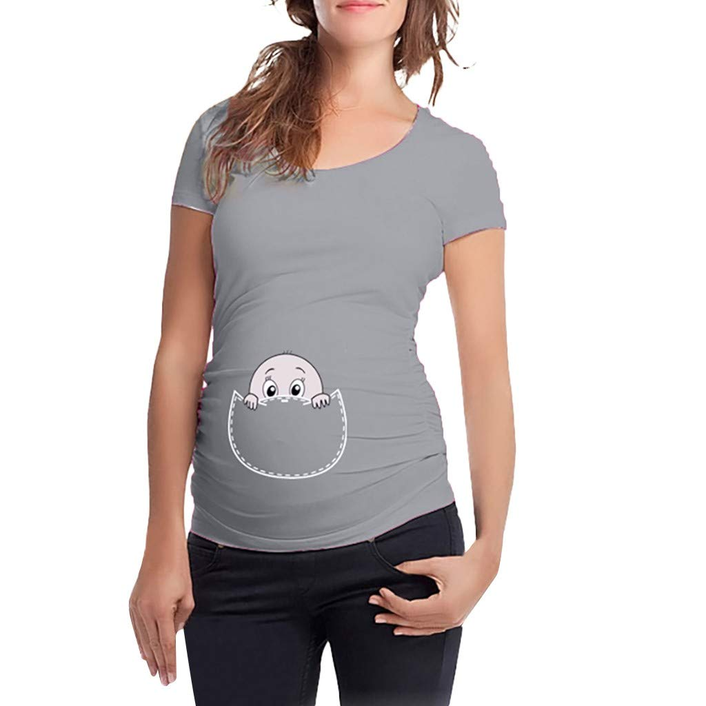 Jaminy Stillshirt Umstandstop T-Shirt Umstandsmode Umstandsshirt Schwangerschaft Kleidung Mutterschafts Kurzarm Shirt