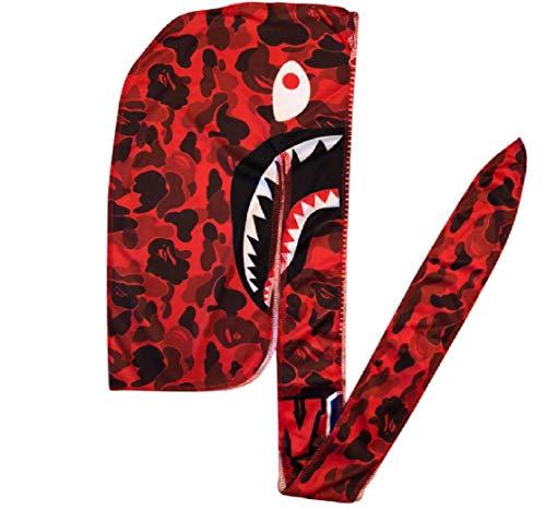 (Customs Slippery Apparel | Designer Durag (30+ Designs) Fashion Durags LV Supreme Ape & More (Red Ape Shark))