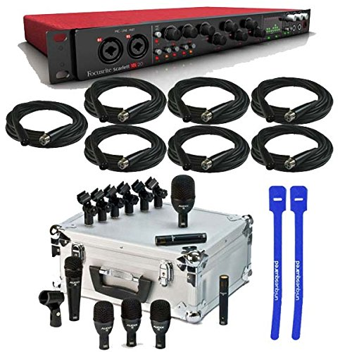 Price comparison product image Focusrite Scarlett 18i20 USB Audio Interface w/ Audix FP7 7-Piece Fusion Drum Microphone Package & XLR Cables & Cable Ties