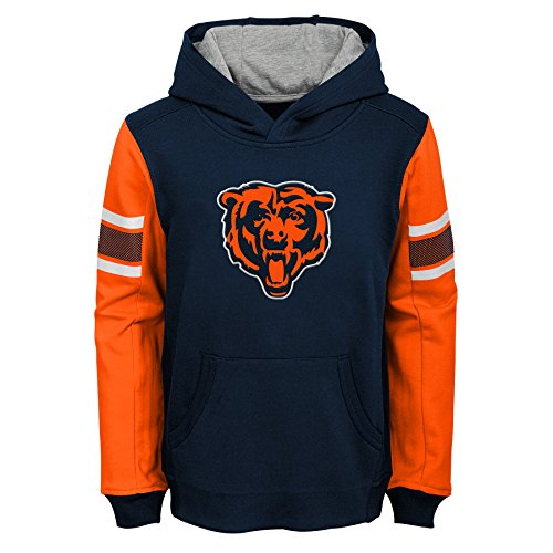 Bears Youth Apparel - NFL Chicago Bears Kids & Youth Boys Man in Motion Color Blocked Pullover Hoodie, Deep Obsidian, Kids Medium(5-6)