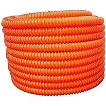 "Flexible Corrugated PVC Split Tubing and Convoluted Wire Loom (3"" dia x 25 ft, Orange)"