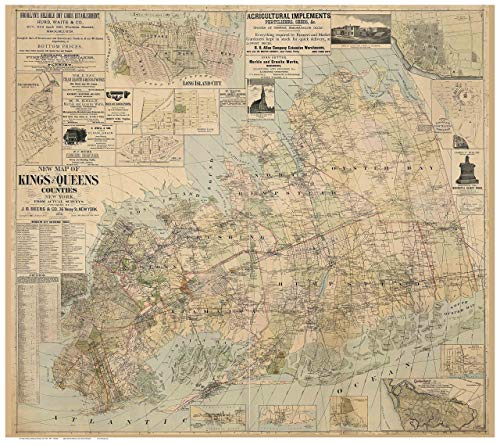 (Kings & Queens Counties New York 1886 - Wall Map with Homeowner Names - Genealogy - Old Map Reprint)