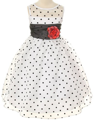 White Organza Black Sash Dress (White Organza Special Occasion Dress with Black Polka Dots Girls - 8)