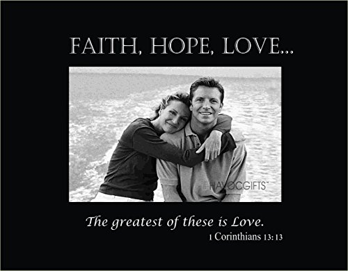 Infusion Gifts 3103-SB Faith Hope Love Scripture Engraved Frame, Small, Black
