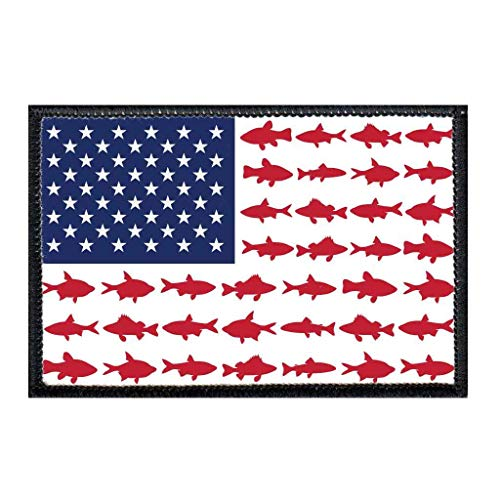 US Flag - Fish Morale Patch | Hook and Loop Attach for Hats, Jeans, Vest, Coat | 2x3 in | by Pull Patch (Button Applique Decorative Flag)