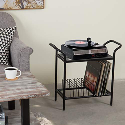 2 Tier Modern Matte Black Lattice Style Metal Turntable And Vinyl