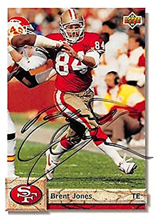 Brent Jones autographed Football Card (San Francisco 49ers) 1992 Upper Deck   126 - NFL Autographed Football Cards at Amazon s Sports Collectibles Store 1fccacc25