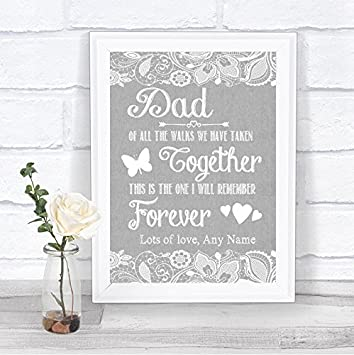 Grey Burlap Lace Message for Dad Father of Bride Personalised Wedding Sign Print