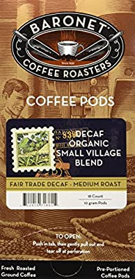 Baronet Coffee Decaf Fair Trade Organic Coffee Pods, 54 Count