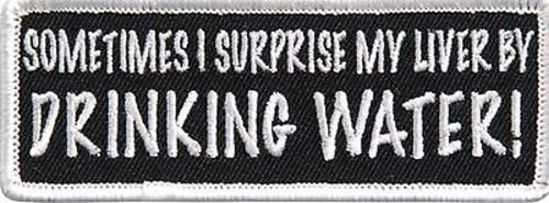 SURPRISE MY LIVER .. FUNNY COOL Embroidered Motorcycle Biker vest Patch PAT-3109 heygidday