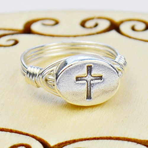Sterling Silver Cross Bead and Sterling Silver or Gold Filled Wire Wrapped Ring- Custom made to size 4 -14 (Symbol Message Bead)