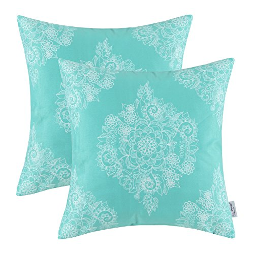 Pack Of 2 CaliTime Cozy Throw Pillow Cases Covers For Couch Bed Sofa,  Vintage Mandala Floral, 18 X 18 Inches, Turquoise