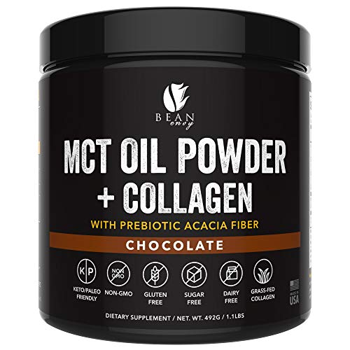 MCT Oil Powder + Collagen + Prebiotic Acacia Fiber - 100% Pure MCTs - Perfect for Keto - Energy Boost - Nutrient Absorption - Healthy Gut Support - Chocolate