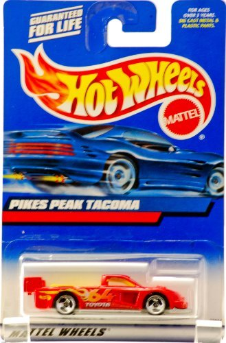 Hot Wheels 2000 - Mattel Collector #148 - Pikes Peak Tacoma - Red / Yellow Interior - #64 Toyota Racing Graphics - 3 Spoke Wheels - New - Out of Production - Limited Edition - Collectible