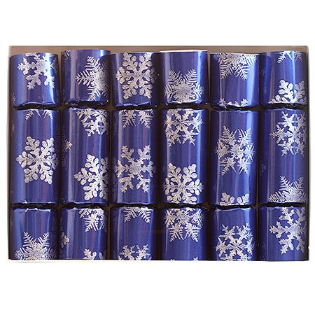 Fill Your Own Blue Snowflake Christmas Cracker, set of six 10 inch handmade holiday crackers that you fill with your own gift and message inserts