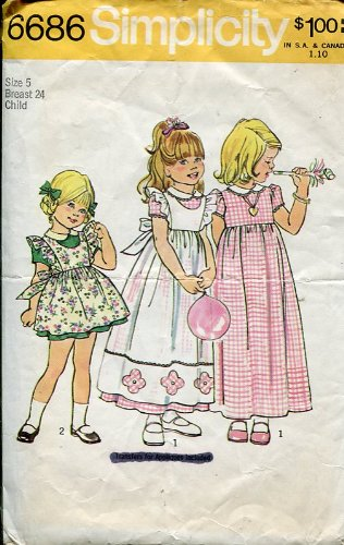 - Simplicity Pattern 6686 ~ Girl's Dress or Pinafore ~ Size 5 Breast 24