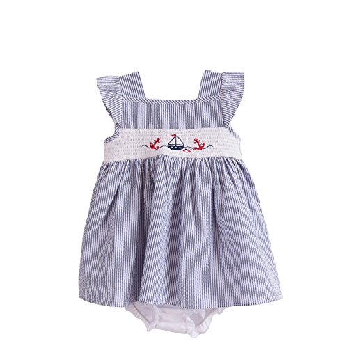 Lad Blue Seersucker Smocked Dress product image