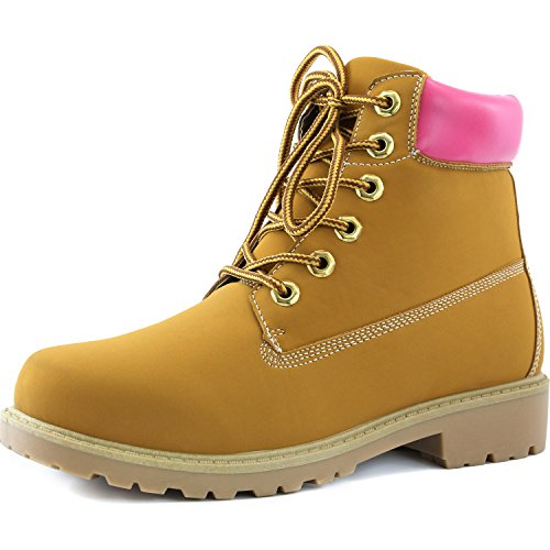 Padded DailyShoes Women's Booties Pink Lace Combat Collar up Work Ladies PU Ankle Tan rdrqwIC