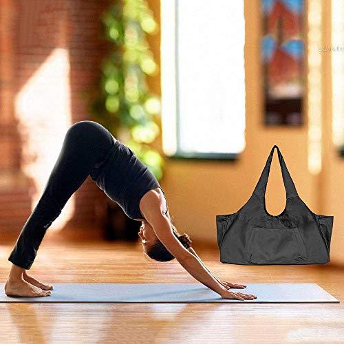 Zip Bolsa de colchoneta de yoga Grande, Bolsa de asa de yoga Aolvo con correa, Bolsa de lona de algodón 2 Bolsillos adicionales para 2 Estera de yoga, ...