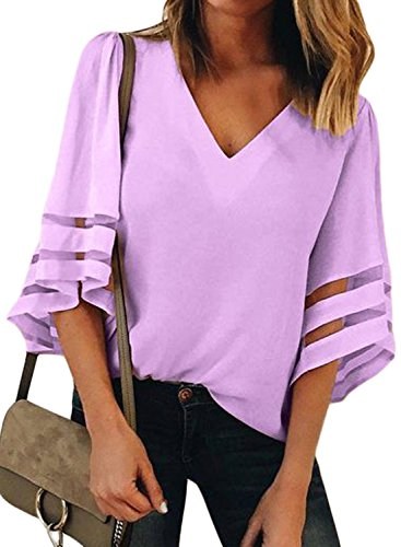 BLENCOT Womens Fashion 3/4 Bell Sleeve V Neck Patchwork Purple Chiffon Blouse Shirt Casual Loose Tops Large