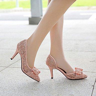 Women'S Blushing Spring UK4 Zormey Heel Dress Pink Wedding EU36 Black Evening Fall Party Almond amp;Amp; Heels Bowknot CN36 Summer Synthetic Stiletto US6 Zgwwdq