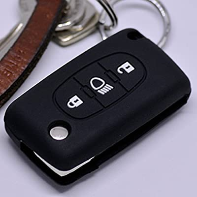 Soft Case Funda Protectora Llave del Coche Citroen C4 Picasso C5 C8 Despacho Jumpy Key Shell Llave Plegable/Color Negro