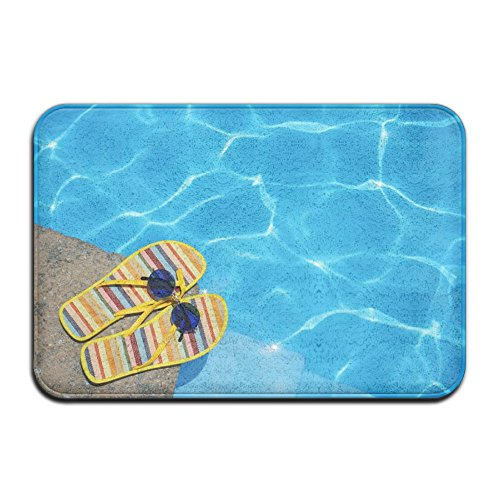 QURFKY Life Is Better At The Pool Theme Anti-slip Door Mat Home Decor Indoor Outdoor For Decor Decorative Kids Children Bedroom Entrance Doormat Rubber Backing 23.6 X 15.7 ()