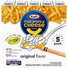 Kraft Original Flavor Mac and Cheese is a convenient boxed dinner. Kids and adults love the rich taste of mac with cheesy goodness. This handy dinner includes macaroni noodles and original flavor cheese sauce mix, so you just need milk and ma...