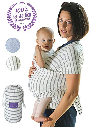 - Baby Wrap Sling for Newborn, Infants & Toddlers by Bonne Vie | Safe & Comfortable Carrier for Men & Women | Baby Wearing Made Easy | Pouch Bag included | Boy Girl Shower Gift & Registry Must Haves