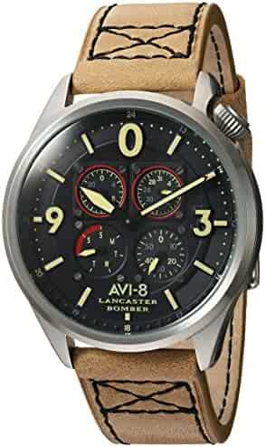 117a753fe AVI-8 Men's Lancaster Bomber Stainless Steel Japanese-Quartz Aviator Watch  with Leather Calfskin