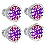 Led Grow light Bulb Full Spectrum with UV&IR, Grow Lights for Indoor Plants, EnerEco 28W Grow Lamp for Indoor Plants Garden Hydroponic Greenhouse Organic AC85-265V, E27 base [4Pack]