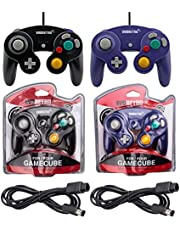 Black and Purple Controllers and 6ft Extension Cable Set - Compatible with Gamecube, Switch, Wii U, and PC by EVORETRO