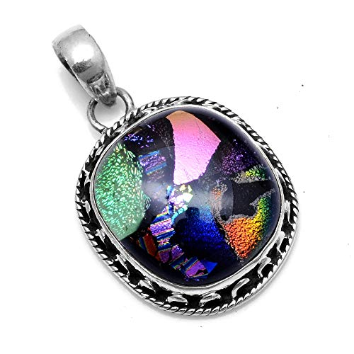 (Silver Palace Sterling Silver Handmade Dichroic Glass Pendant for Women and)