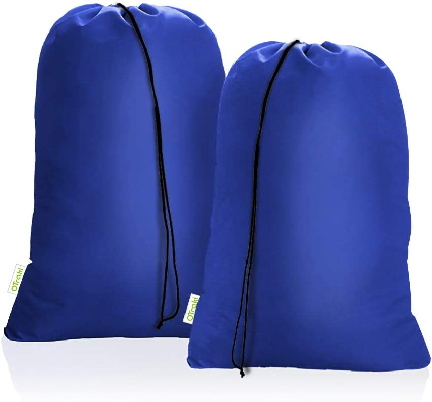 OTraki Heavy Duty Large Laundry Bags 2 Pack 28 x 45 inch XL Drawstring Travel Organizer Bag Fit Hamper Basket Camp Home College Dorm Tear Resistant Dirty Cloth Big Storage, Three Loads of Clothes Blue