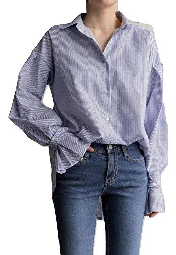 食料品店にパトロール(ブリランテ) BRILLANTE レディース トップス セットアップ シャツ ベスト リブ編 スリット POLOカラー 長袖 ベル袖 ボタン ストライプ 緩い
