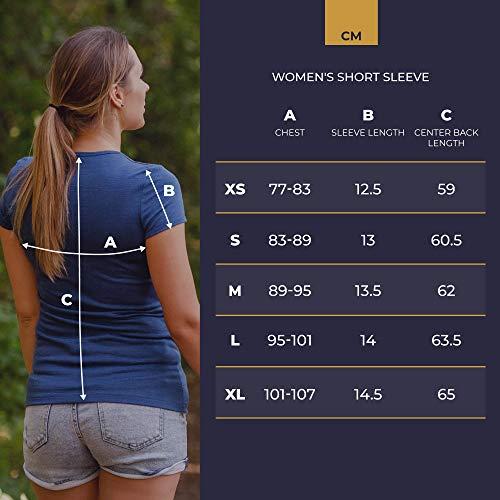 menique Damen Kurzarm T-Shirt Rundhals Leichtes Top 100% Merinowolle