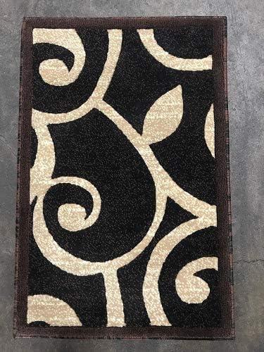 Americana Modern Doorway Mat Area Rug Black,Brown and Beige Design 154 2 Feet X 3 Feet