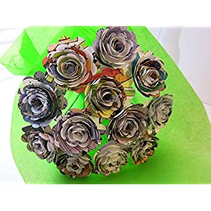 "Scalloped Comic Book Paper Flowers Bunch, 1 Dozen 1.5"" Roses on Stems, Cartoon Theme Bridal Shower Decoration, Home Decor, Superhero Birthday Party Decor Centerpiece 72"